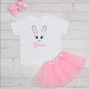 Other - NWT! 3 Piece Personalized Easter Bunny Tutu Set